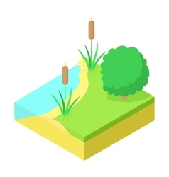 River bank fishing place icon cartoon style vector