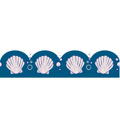 Seashell and bubbles seamless border vector