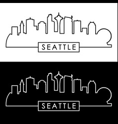 seattle skyline linear style vector image vector image