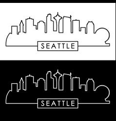 seattle skyline linear style vector image