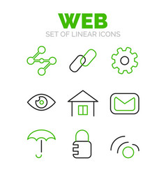 Set of universal web icons flat minimal linear vector