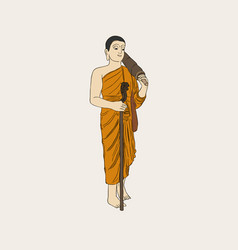 Shaved buddhist monk full-length vector