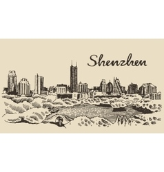 Shenzhen skyline hand drawn vector image vector image