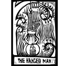 Tarot card hanged man vector