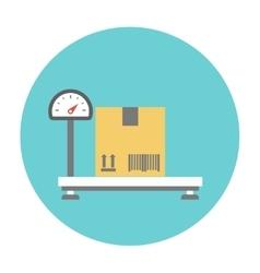 Weighing cardboard box vector image