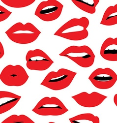 Woman red lipstick kiss seamless pattern design vector