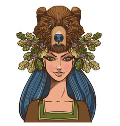 Woman with a mask of a bear beautiful girl in a vector