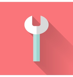 Wrench flat icon over pink vector image vector image