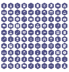 100 crime investigation icons hexagon purple vector