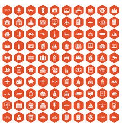 100 property icons hexagon orange vector image vector image