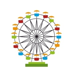 Wheel ferris fair attraction icon vector