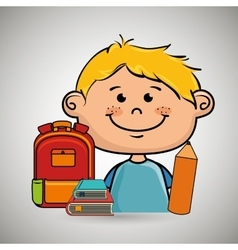 Boy student bag color book vector