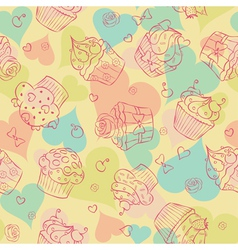 Cupcake seam vector