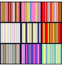set of vertical striped patterns vector image