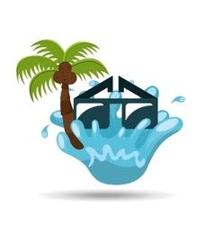 sunglasses water splash palm summer vacation vector image