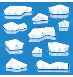 Cartoon icebergs set vector
