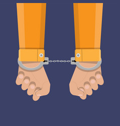 Human hands in handcuffs vector