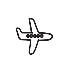 Flying airplane sketch icon vector