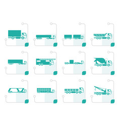 Stylized different types of trucks and lorries vector