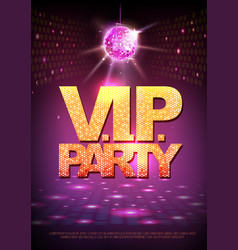 Disco ball background disco poster vip party vector