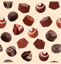 Background seamless with chocolate candy slice of vector