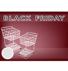 Two shopping cart on black friday background vector