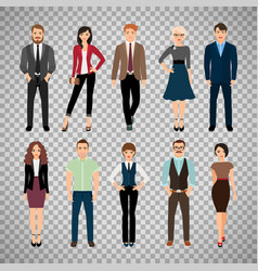 Casual office people on transparent background vector