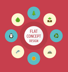 Flat icons landscape conservation sunshine vector