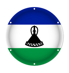 Round metallic flag of lesotho with screw holes vector