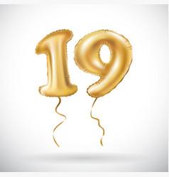Golden number 19 nineteen metallic balloon party vector