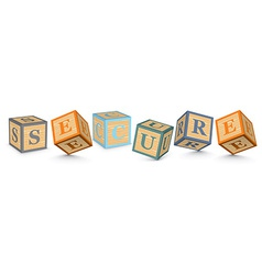 Word secure written with alphabet blocks vector