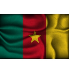 Crumpled flag of cameroon on a light background vector