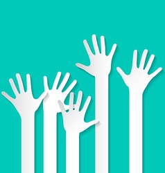 Voting hand - paper cut palm hands set on re vector
