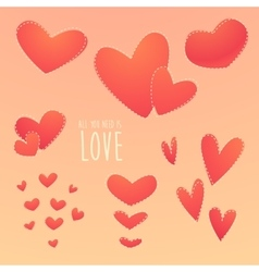 Romantic set beautiful hearts vector
