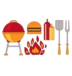 Food grillbbqroaststeak flat vector