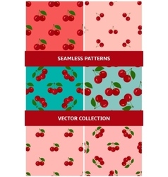 Set of seamless patterns with juicy cherry vector