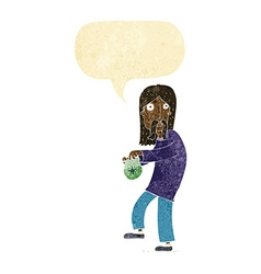 Cartoon hippie man with bag of weed with speech vector