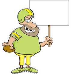 Cartoon football player holding a sign vector
