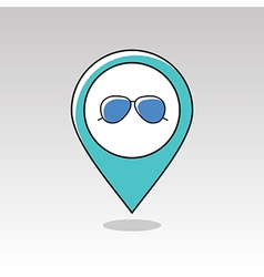 Sunglasses pin map icon meteorology weather vector