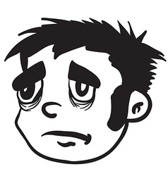Simple black and white sad boy vector