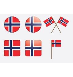 Badges with norwegian flag vector