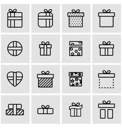 Line gift icon set vector