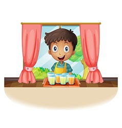 A boy holding a tray of juice vector