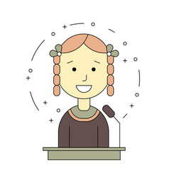 avatar girl on tribune for speech vector image