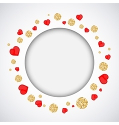 Background with heart and gold glittering circles vector