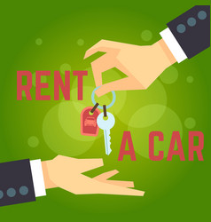 car rent hand holding car key vector image vector image