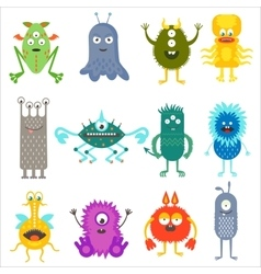 Cartoon cute color animals monsters aliens set vector image