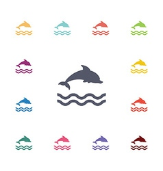 dolphin flat icons set vector image
