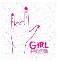 Girl power poster text and hand making horns vector