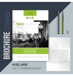 Green brochure cover template with blured city vector